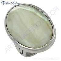 New Natural Mabe Pearl Gemstone Silver Ring