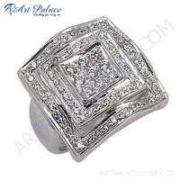 Newest Luxury Fashionable Cubic Zirconia Silver Gemstone Ring