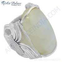 Latest Luxury Fashionable Rainbow Moonstone Silver Gemstone Ring