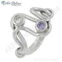 Excellent New Fashion Amethyst Silver Gemstone Ring