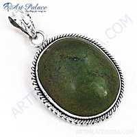 Fashion Gemstone Ruby Zoisite Silver  Pendant