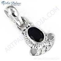 Black Onyx Gemstone Sterling Silver Pendent