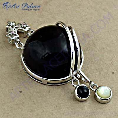 Newest Black Onyx Cubic Silver Gemstone Ring