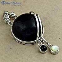 Newest Black Onyx Cubic Silver Gemstone Ring