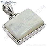 Rainbow Moonstone Gemstone Silver Pendant