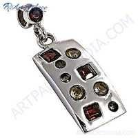 Fashionable Multistone Gemstone Jewelry Silver  Pendant