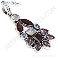 Excellent New Fashion Multistone Silver Gemstone Pendant