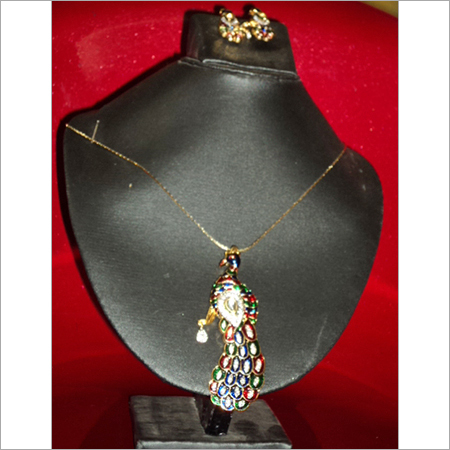 Peacock American Diamond Pendant Set