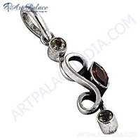 Latest Luxury Citrine Garnet Peridot Silver Gemstone Pendant