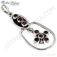 Charm Fashionable Garnet Gemstone Silver Pendant Jewelry