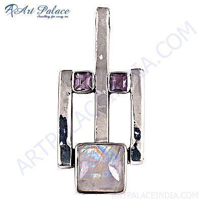 Amethyst Rainbow Moonstone Silver Gemstone Pendant