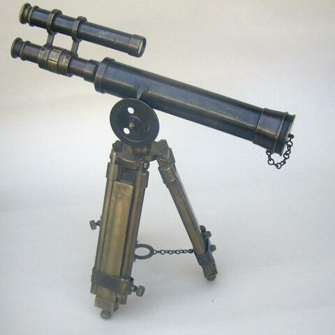Brass Antique Double Barrel Telescope With Stand