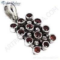 Excellent Garnet Silver Gemstone Pendant
