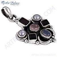 Valuable Multistone Silver Gemstone Pendant