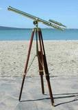 Nautical Brass Telescope with Wooden Stand