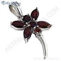 Romantic Garnet Gemstone Silver Pendant