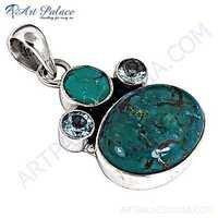 Pretty Cubic Zirconia & Turquoise Gemstone Silver Pendant