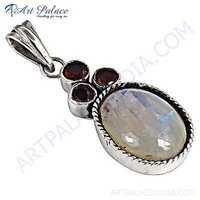 Beautiful Garnet & Rainbow Monstone Gemstone Silver Pendant
