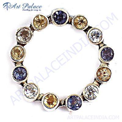 Rocking Amethyst & Citrine & Cubic Zirconia Gemstone Silver Pendant