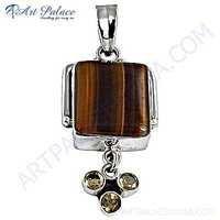 Most fashionable Citrine & Tiger Eye Gemstone Silver Pendant