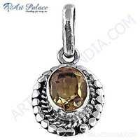 New Natural  Citrine Gemstone Silver Pendant