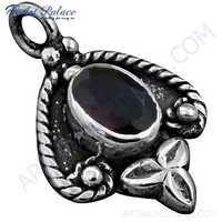 Ethnic Designer Amethyst Gemstone Silver Pendant