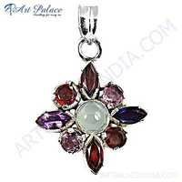 Stylish Flower Multistone Gemstone Silver Pendant