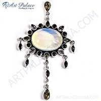 Special cutting Elegant Multistone & Opal Gemstone Silver Pendant