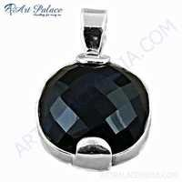 Midnight Black Onyx Gemstone Silver Hot Pendant