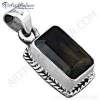 Feminine Unique Design Smokey Quartz Gemstone SIlver Pendant