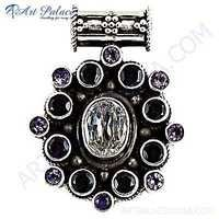 Lastest Luxury Amethyst & Cubic Zirconia & Garnet Gemstone Silver Pendant