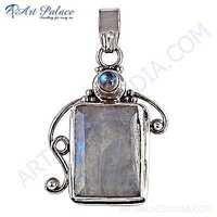 Rainbow Classic & Rainbow Moonstone Gemstone Silver Pendant