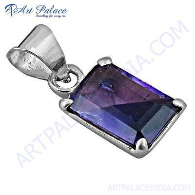 Graceful Glamour Amethyst Gemstone Silver Pendant