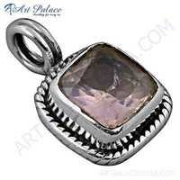 Romeantic Rose Quartz Gemstobne Silver Pendant