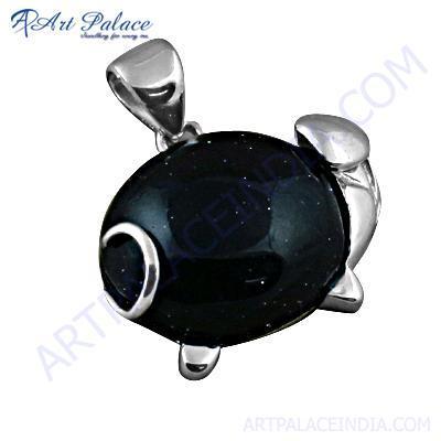 Fashion Gemstone Black Onyx Gemstone Silver Pendant