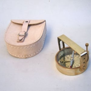 Nautical Brass Clinometer Compass With Case