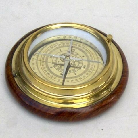 Nautical Brass Compass With Wooden Base