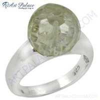 Simple Design Crystal Gemstone Silver Ring