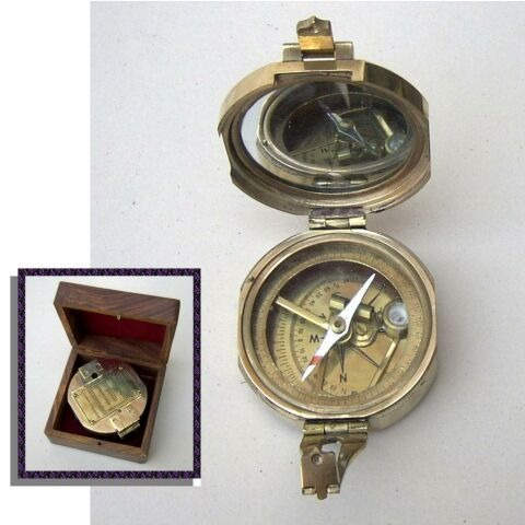 Nautical Brunton Compass With Wooden Box