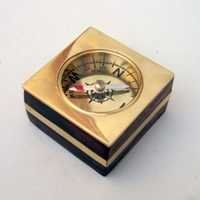 Wooden Desk Compass Beass Inlay