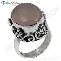 Fantastic Fashionable Rose Quartz Gemstone Silver Ring