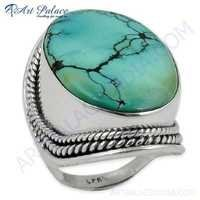 Famous Design Turquoise Gemstone Silver Ring