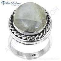 Sterling Silver Cool Rings Gemstone With Rainbow Moonstone