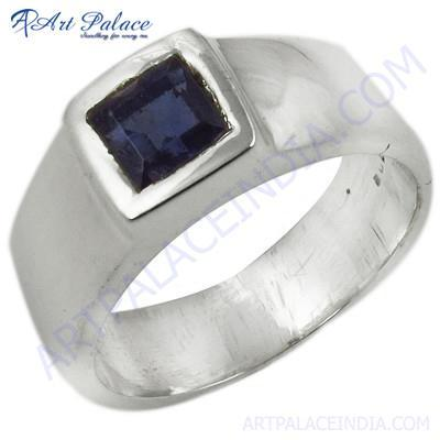 Simple Sterling Gemstone Silver Ring With Blue Glass