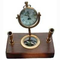 Wooden Base Pen Holder With Compass Table Clock
