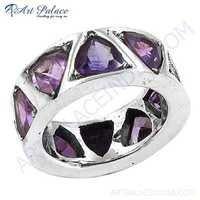 Classic Amethyst Silver Gemstone Ring