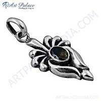 Indian Designer Smokey Quartz Gemstone Silver Pendant
