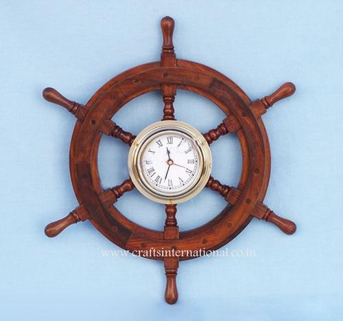 Wooden Ship Wheel Clock