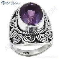 Royal Fashion Amethyst Silver Gemstone Ring