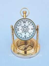 Brass Nautical Clock With Compass